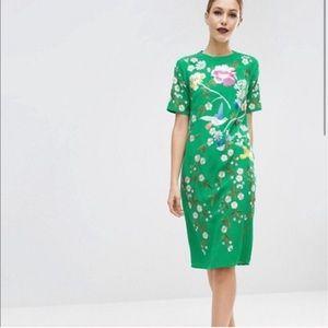 ASOS bird & floral embroidery dress